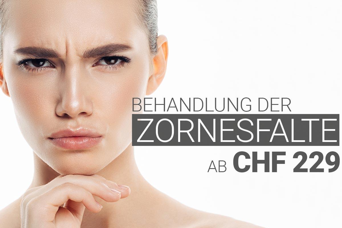 Zornesfaltebehandlung mit Muskelrelaxans bei M1 Med Beauty Swiss