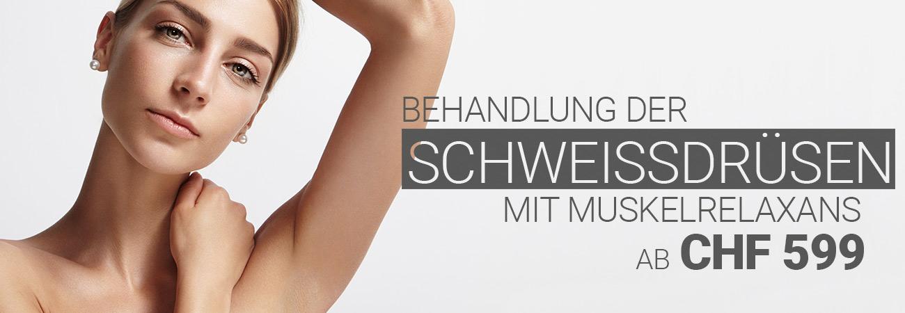 Schweissdrüsenbehandlung gegen übermässiges schwitzen bei M1 Med Beauty Swiss